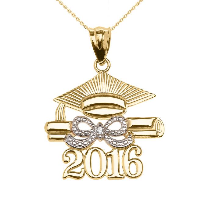 Yellow Gold Class of 2016 Graduation Cap Pendant Necklace with Diamond