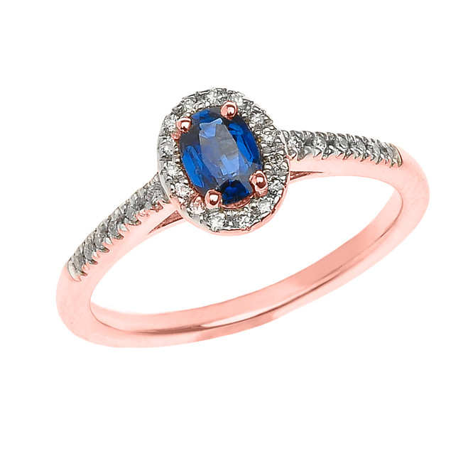 Rose Gold Sapphire and Diamond Elegant Proposal ring