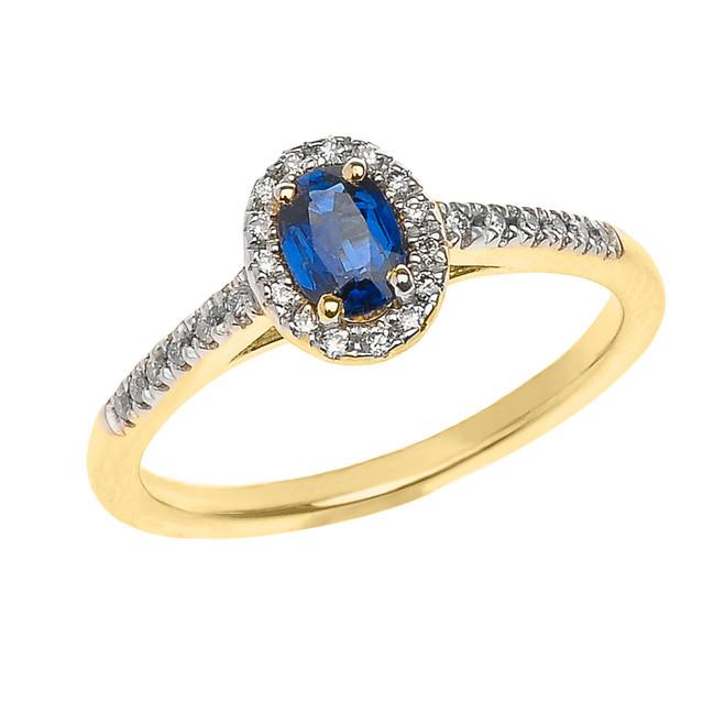 Yellow Gold Sapphire and Diamond Elegant Proposal ring