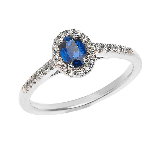 White Gold Sapphire and Diamond Elegant Proposal ring
