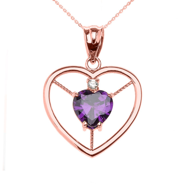 Elegant Rose Gold CZ and February Birthstone CZ Solitaire Heart Pendant Necklace