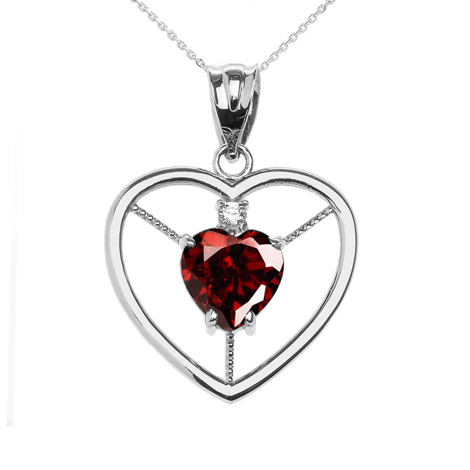 Elegant White Gold CZ and January Birthstone CZ Solitaire Heart Pendant Necklace