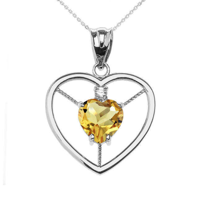 Elegant White Gold CZ and November Birthstone CZ Solitaire Heart Pendant Necklace
