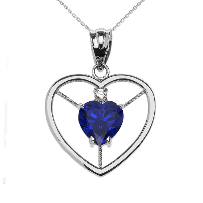 Elegant Sterling Silver CZ and September Birthstone Blue CZ  Heart Solitaire Pendant Necklace