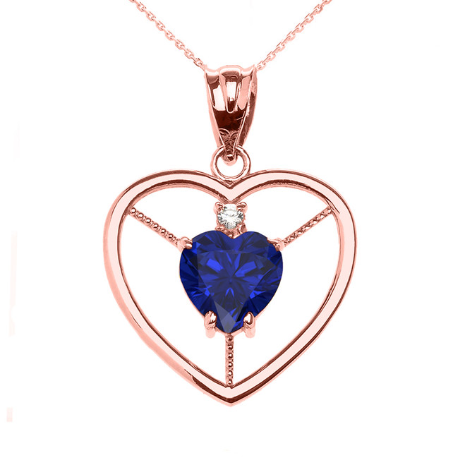 Elegant Rose Gold CZ and September Birthstone Blue CZ Heart Solitaire Pendant Necklace