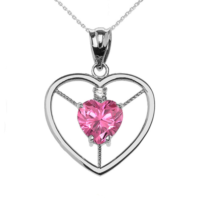 Elegant White Gold CZ and October Birthstone Pink CZ Heart Solitaire Pendant Necklace