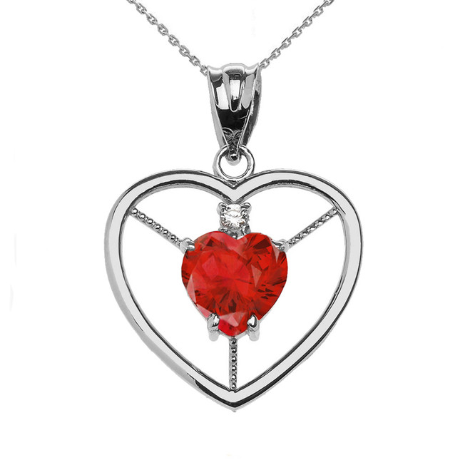 Elegant Sterling Silver CZ and July Birthstone Red CZ Heart Solitaire Pendant Necklace