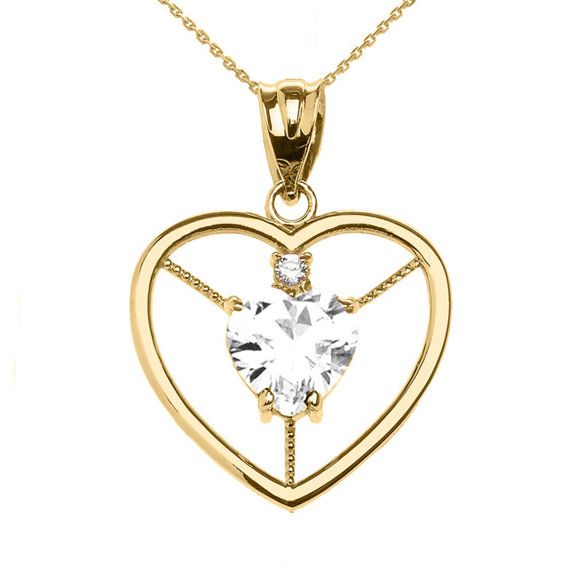 Elegant Yellow Gold CZ and April Birthstone White CZ Heart Solitaire Pendant Necklace