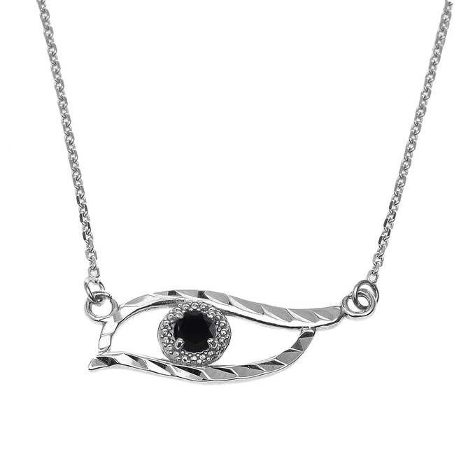 Sterling Silver Diamond Cut Black CZ  Evil Eye Pendant Necklace