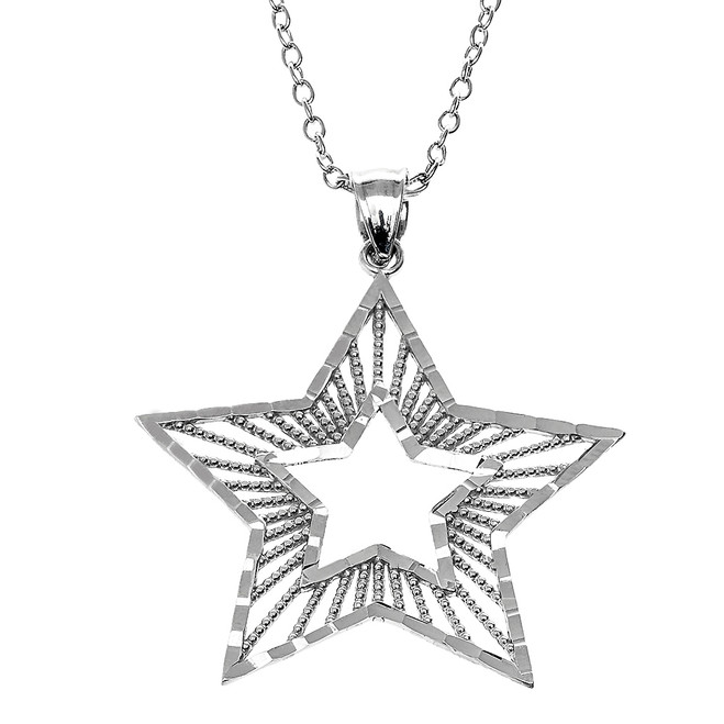Sterling Silver Diamond Cut Star Pendant Necklace