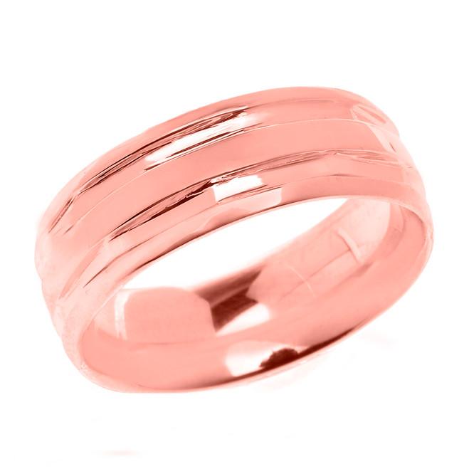 Rose Gold Comfort Fit Modern Wedding Band