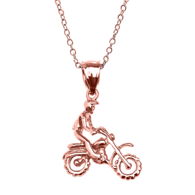Rose Gold Off Road Mountain Motorcycle Pendant Necklace