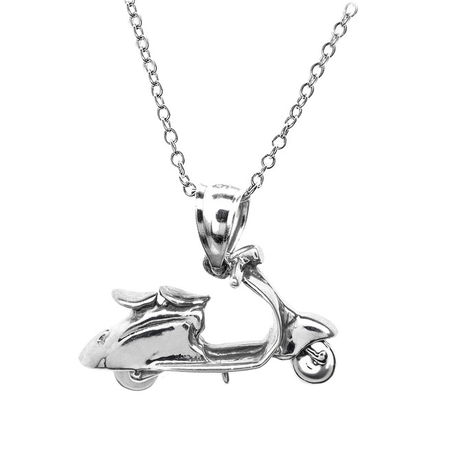 White Gold Scooter Pendant Necklace