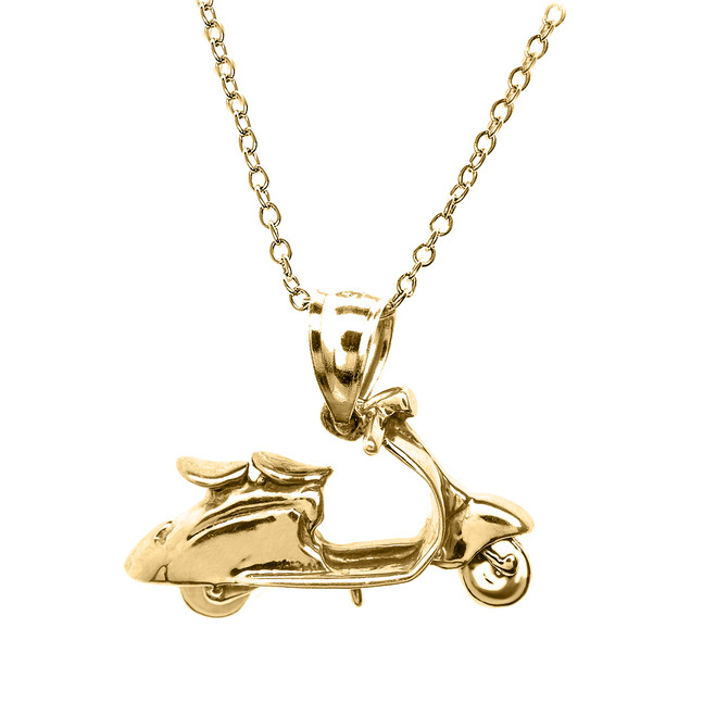 Yellow Gold Scooter Pendant Necklace