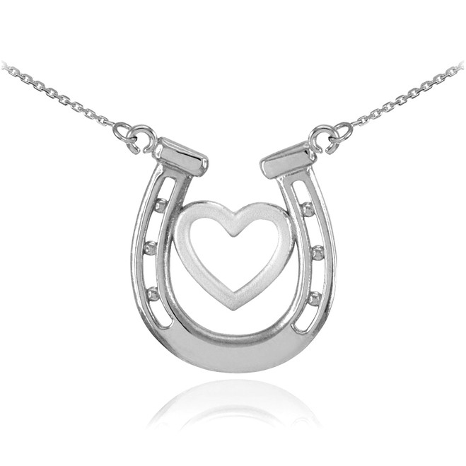 14k White Gold Lucky Charm Horseshoe with Heart Necklace