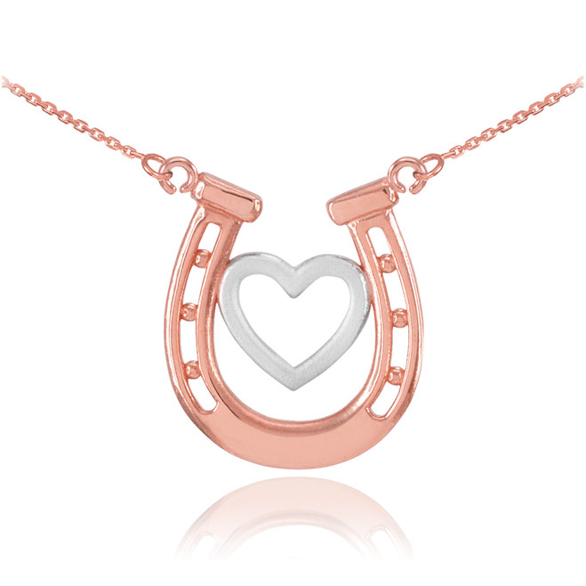 14k Two-Tone Rose Gold Lucky Charm Horseshoe with Heart Necklace
