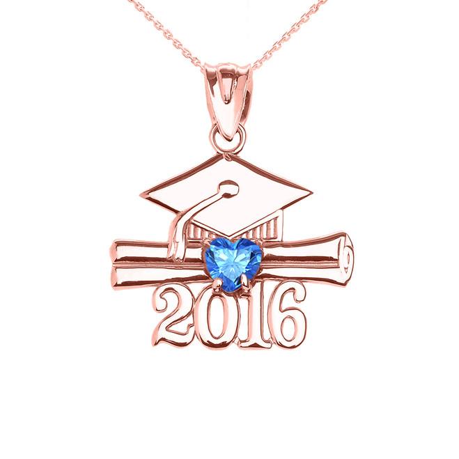 Rose Gold Heart December Birthstone Light Blue CZ Class of 2016 Graduation Pendant Necklace