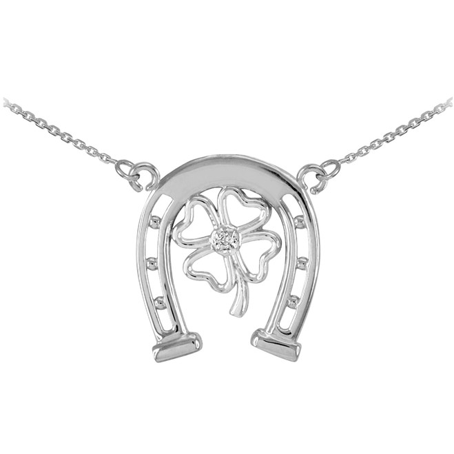 14k White Gold Lucky Horseshoe with Diamond 4-Leaf Clover Necklace