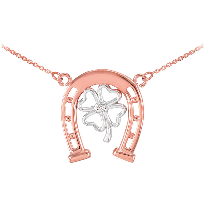 14k Two-Tone Rose Gold Lucky Horseshoe with Diamond 4-Leaf Clover Necklace
