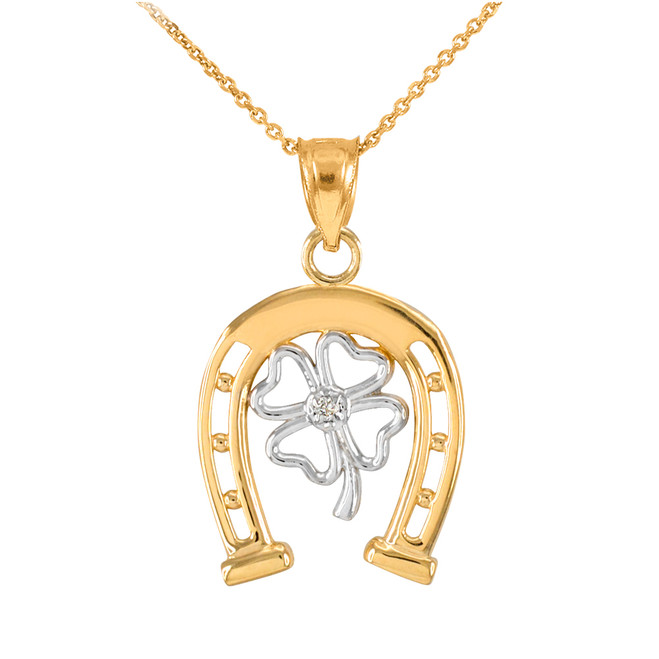 Two-Tone Yellow Gold Lucky Horseshoe with Diamond 4-Leaf Clover Pendant Necklace