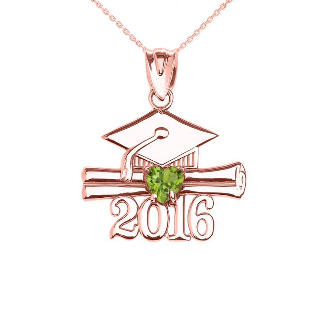 Rose Gold Heart August Birthstone Light Green Cz Class of 2016 Graduation Pendant Necklace