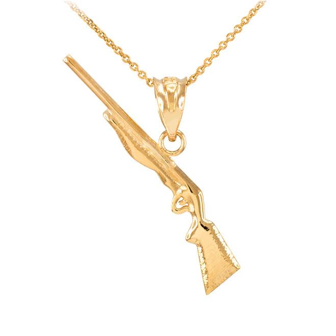 Dainty Yellow Gold Shotgun Charm Pendant Necklace