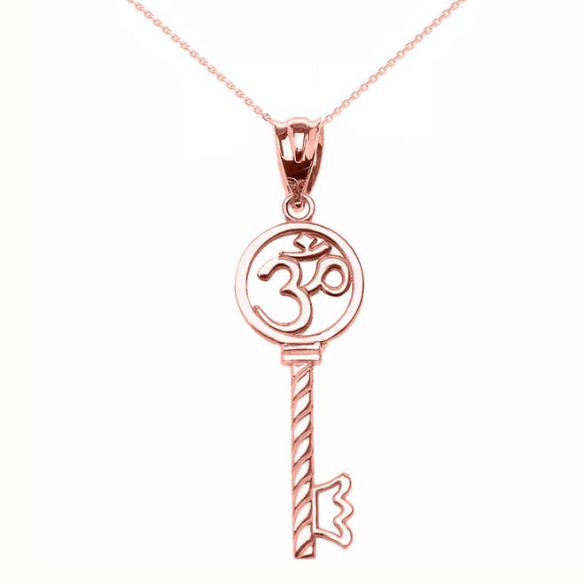 Rose Gold Om/Ohm Key Pendant Necklace