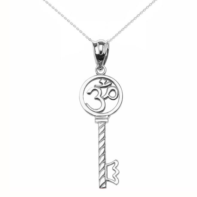 White Gold Om/Ohm Key Pendant Necklace