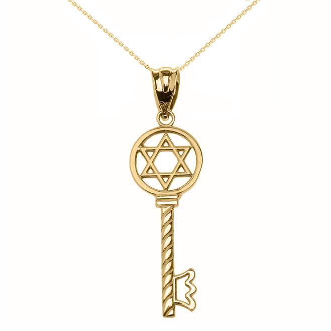 Yellow Gold Star of David Key Pendant Necklace