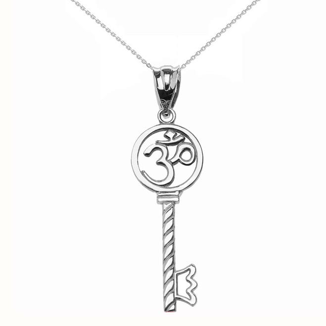 Sterling Silver Om/Ohm Key Pendant Necklace