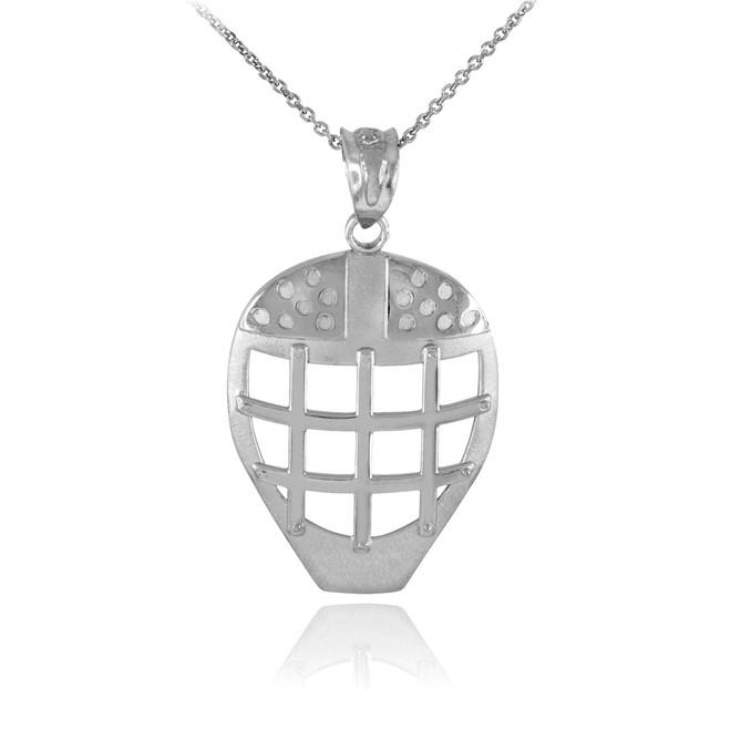 White Gold Hockey Goalie Mask Sports Pendant Necklace
