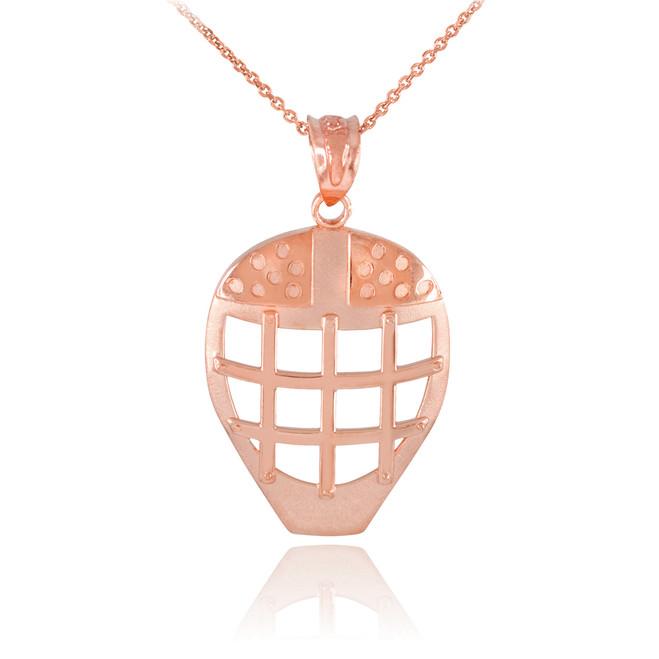 Rose Gold Hockey Goalie Mask Sports Pendant Necklace