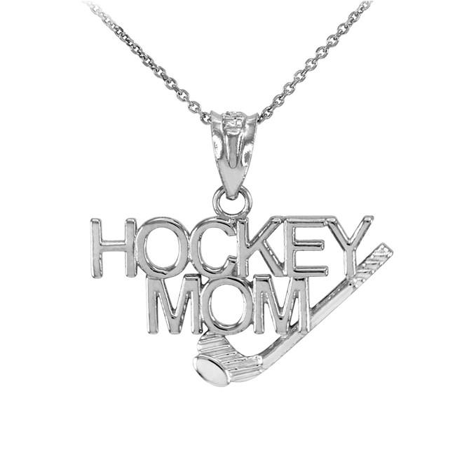 White Gold HOCKEY MOM Sports Pendant Necklace