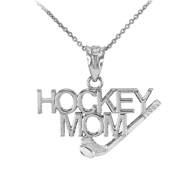 925 Sterling Silver HOCKEY MOM Sports Pendant Necklace