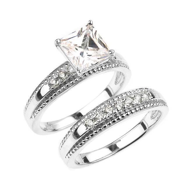 White Gold CZ Engagement Wedding Ring Set