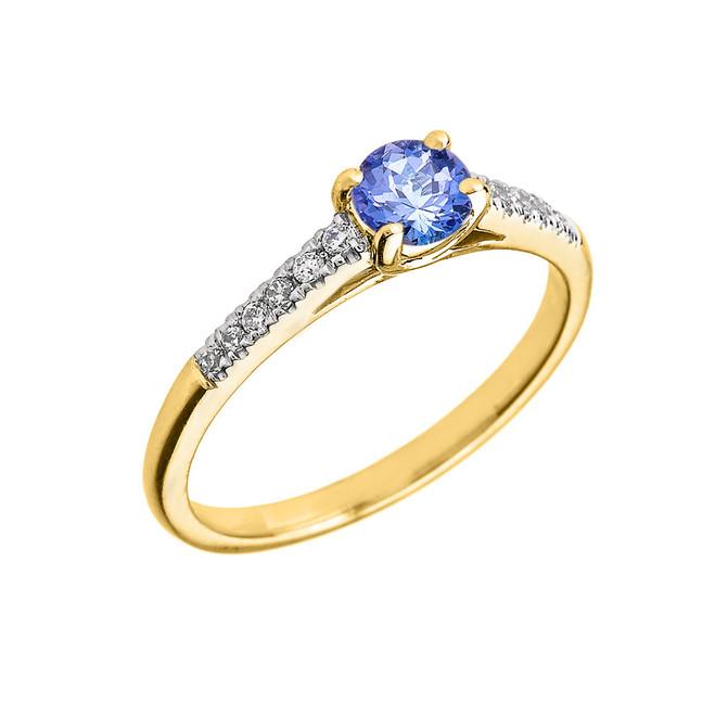 Yellow Gold Diamond and Tanzanite Engagement Proposal Ring