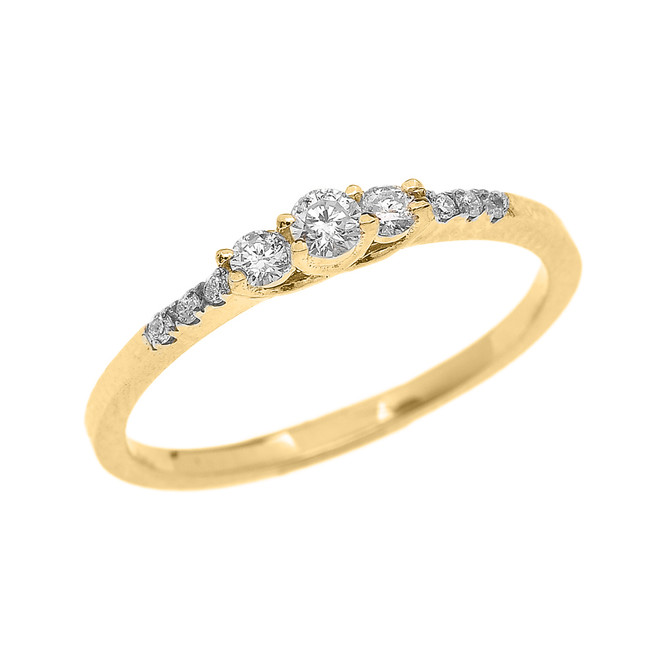 Dainty Diamond Engagement Ring in Yellow Gold