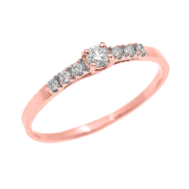 Fine Dainty Diamond Engagement Ring in Rose Gold