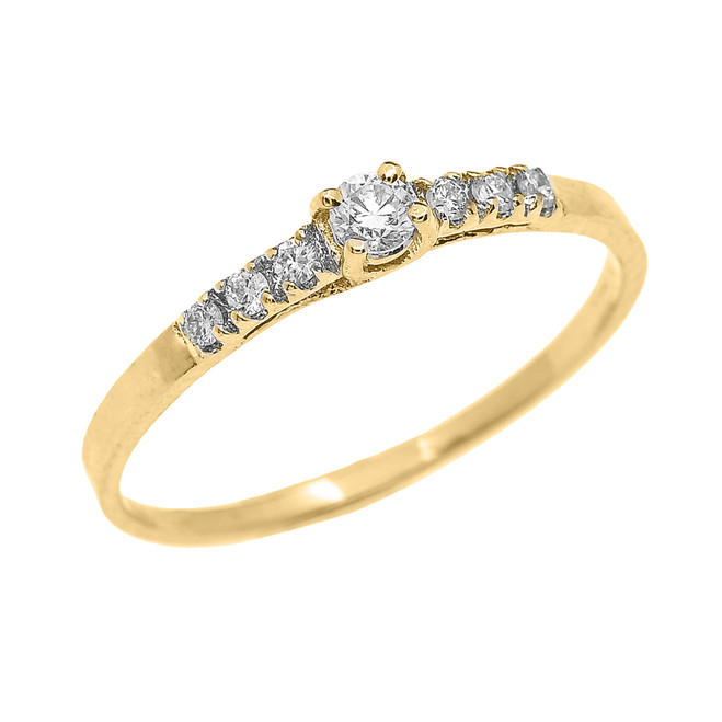 Fine Dainty Diamond Engagement Ring in Yellow Gold