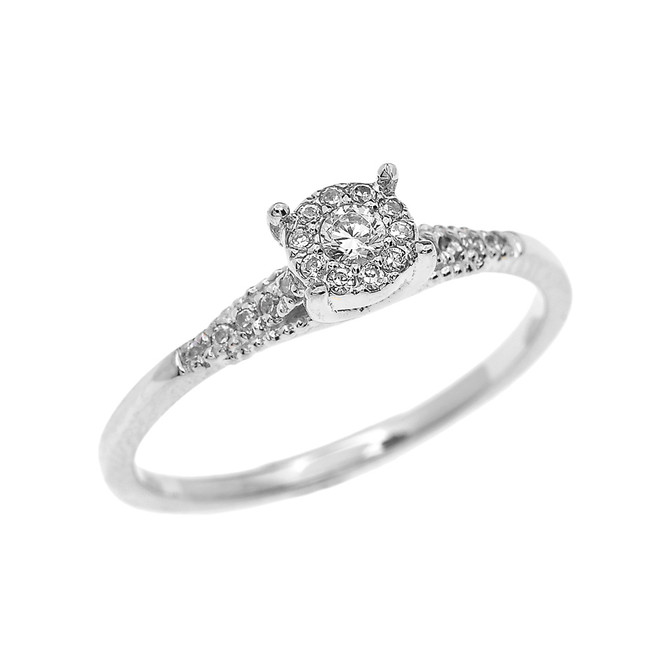 White Gold Halo Diamond Elegant Solitaire Engagement Proposal Ring