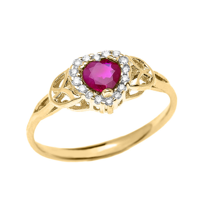 Elegant Yellow Gold Diamond and Ruby Heart Trinity Knot Engagement Proposal Ring