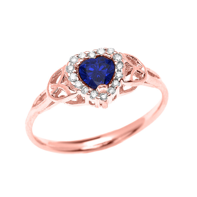 Elegant Rose Gold Diamond and Sapphire Heart Trinity Knot Engagement Proposal Ring