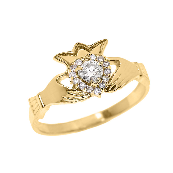 Yellow Gold 0.25 TCW Diamond Claddagh Engagement Proposal Ring