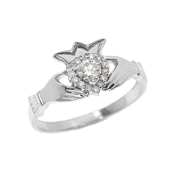 White Gold 0.25 TCW Diamond Claddagh Engagement Proposal Ring