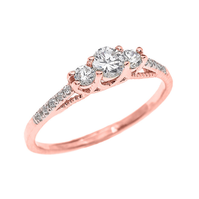 Diamond Proposal/ Engagement Ring in Rose Gold