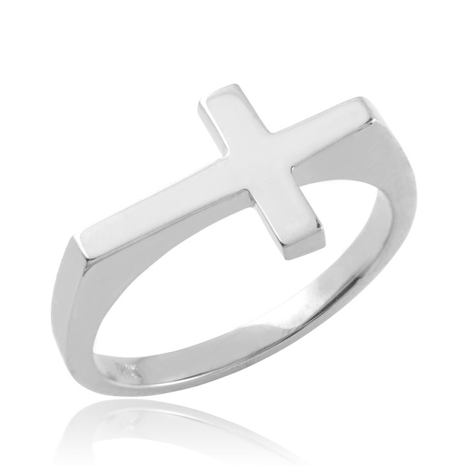 Polished Sterling Silver Flat Top Sideways Cross Ring