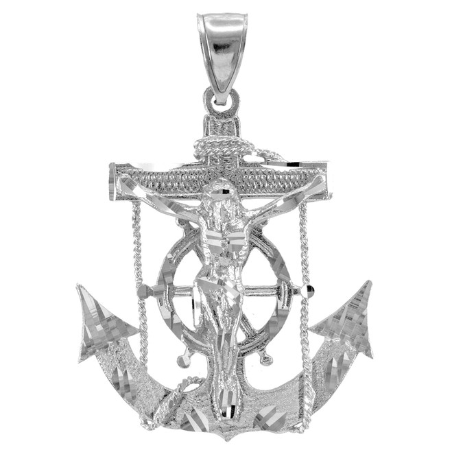 White Gold Mariner Crucifix Anchor Cross Pendant