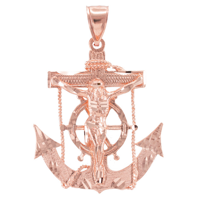 Rose Gold Mariner Crucifix Anchor Cross Pendant