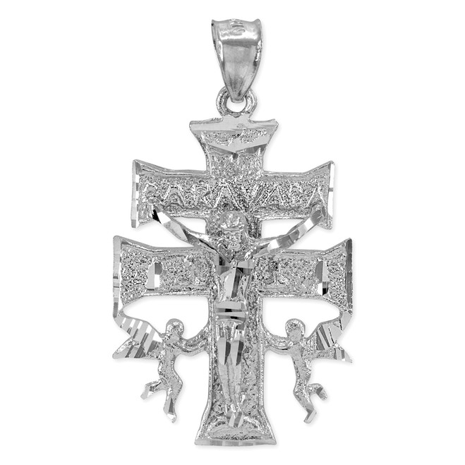 White Gold Caravaca Double Cross with Angels Crucifix Pendant