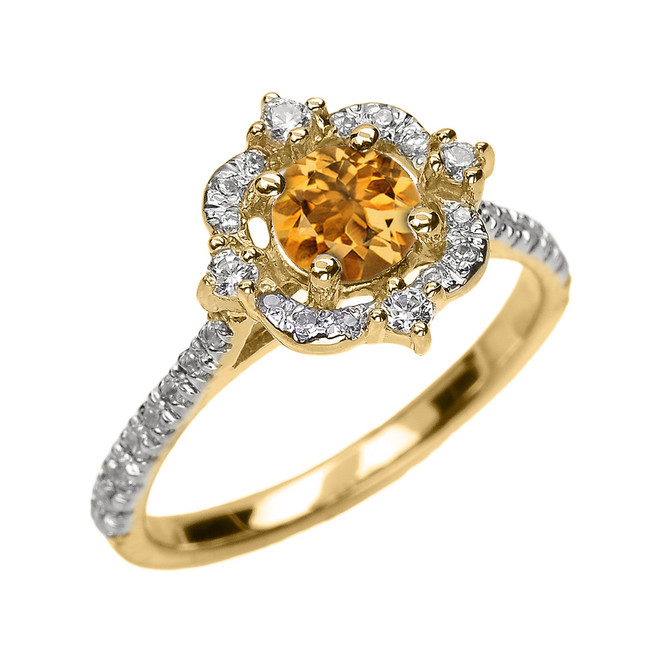 Yellow Gold Genuine Citrine And Diamond Dainty Engagement Proposal Ring